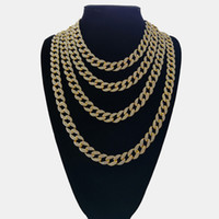 Iced Out Bling strass or fini Miami Cuban Link Chain Collier Iced Homme Out Hip hop Bijoux Collier 16,18, 20,24 pouces