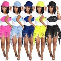 Women 2-piece Set Summer Fringe Tassel Denim Shorts And Lip Print T-shirt Tops Club Outfit Jeans Hight Waist Femme Skinny Slim Shorts Jean