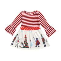 2020 Yeni Bebek Kız PRICNESS Elbise Bahar Şerit Noktalar Flare Kol Parti Elbise Noel Çocuk Karikatür Baskılı Elbiseler C6076
