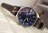 뜨거운 품질 고품질 46mm 파일럿 IW500908 7 일 전력 보호 스테인레스 스틸 가죽 밴드 기계 자동 망 시계 시계