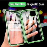 360 Metal Manyetik Telefon Kılıfı iPhone 12 Mini 11 Pro Max Kılıf iPhone XR X XS Max 6S 7 8 Plus Çift Yan Lüks Temperli Kapak