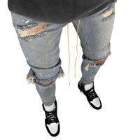 LAAMEI Erkek Serin Siyah Kot Sıska Yırtık Yıkılan Streç Slim Fit Hop Hop Pantolon Erkekler için Delikli