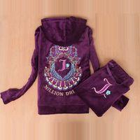 Marca de moda tecido de veludo feminino tracksuits velor terno hoodies tops e calças sweatsuit s - xxl