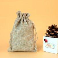 Regalo de Navidad del banquete de boda 100pcs los 7x9cm algodón hecho a mano con cordón arpillera bolsas de empaquetado Bolsa de color natural sacos de yute