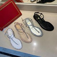 Yaz klasik rc T-kayışı sandalet Bow Düz ayakkabılar kadınlar tasarımcı sandalet 2020 moda lüks tasarımcı çevirme kadın incilerle sandal flop