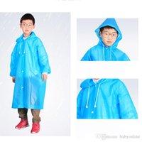 Kinder Kapuzen-Jacke Transparent Regenmäntel Regen-Mantel-Poncho-Regenmantel-Abdeckung Lang-Mädchen-Jungen-Regen 5 Farben FY4028