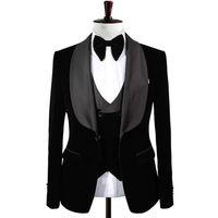 유행 한 버튼 Groomsmen Shawl 옷깃 신랑 턱시도 남자 정장 웨딩 / 댄스 파티 / 저녁 최고의 남자 블레이저 (자켓 + 바지 + 넥타이 + 조끼) A163