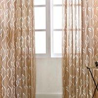 Folhas da bolha Pattern Sheer Cortina decorativa Voile Tulle gaze cortina para Sala de estar decoração de quartos, 2 estilos disponíveis