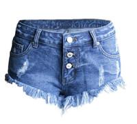 2019 más nuevas para mujer de verano con flecos pantalones cortos de mezclilla de cintura baja de un solo pecho moda mujer sexy rasgado mini jeans cortos s63