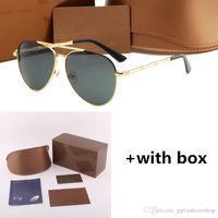 Мода Мужчины и Женщины Пара Солнцезащитные очки 4271 Новые Очки Большая Рамка Бамбуковая Металлическая рамка Очки с корпусом и коробкой