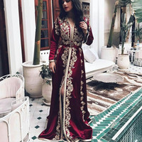 Burgundy Dubai Evening Dresses Golden Moroccan Kaftan Lace Appliques Belt Saudi Arabic Muslim Special Occasion Party Plus Size