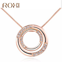 ROXI Statement Necklace Women Rose Gold Color Double Round P...