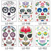 Yüz makyaj Sticker Özel Su Geçirmez yüz dövme günü ölü kafatası yüz elbise up Cadılar Bayramı geçici dövme çıkartmalar