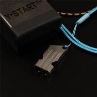 Y-Start Survival Whistle SHISTLE TC4 Titanio Aleación Dos tubos silbado con cordón de cuello para viajes al aire libre Camping Rescues EDC Herramientas YT05
