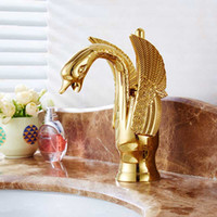 All- copper European antique faucet elevated gold- plated Swan...