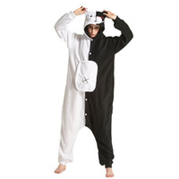 Orso Bianco Nero Kigurumi Animal Tutina Danganronpa Monokuma pigiama Donne di età fumetto Tuta Suit Polar Fleece Sleepwear CJ1911108