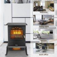 1500W portátil estufa de infrarrojos calentador eléctrico Calentador de espacios Chimenea temporizador de habitaciones LED Negro Oficina estadounidense de