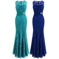 Angel-Fashions Цветочные кружева Бисероплетение Crystal Pliated См. Через Bodycon Maxi Элегантное Платье без рукавов Вечернее платье Prom Party Royal Blue 418