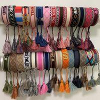 Luxus Seilmaterial Stickerei Armband mit Nähen Wörtern und Quaste d Marke gewebt Schmuck Baumwollarmband Geschenk Freundschaft Armband
