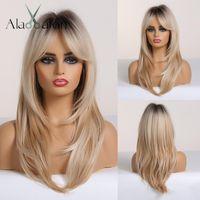 Pelucas largas y rectas Ombre Black Blonde Ash Wigs con flequillo Resistente al calor Sintético para las mujeres