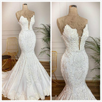 Satin Lace Beaded 2019 Arabic Wedding Dresses Sweetheart Mer...