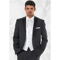 High quality Two Buttons Dark Gray Groom Tuxedos Notch Lapel...