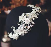 Fascia del fiore coreano sposa Hairband Crow diadema di cristallo strass copricapo dei monili di promenade di moda ornamento del copricapo d'argento