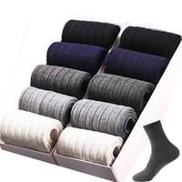 Heren sokken gekamd katoen ademend bedrijf effen gestreepte casual jurk voor mannen 10 paren / partij grootte: 39-44 SOX schoenen seizoenen