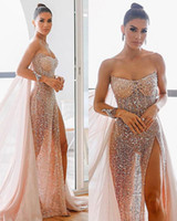 Étincelle Rose Or Paillettes De Bal Ogstuff Robes Sexy Haut Côté Split Robe De Soirée De Luxe Robes De Soirée Formelles robes de soirée