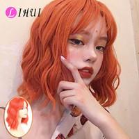 Lihui Arancione parrucche per le donne sintetiche calore Nessuno resistente del merletto con la frangetta parrucca rosa corti Parrucche Naturales Capelli Peruca