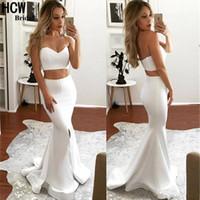 Vestidos de fiesta atractivos de la sirena del baile de dos piezas 2019 cariño blanco Backless Side Split Vestidos formales Vestidos de noche robe de soiree