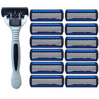6 Schichten Professional Hochqualitätshandbuch Edelstahl-Rasierapparat-Handgriff mit 12st Klingenkopf für Männer Lieferanten