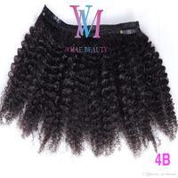 Clip di vendita caldi 160g Natural Color Ins vergine peruviana dei capelli umani 4A 4B 4C Afro crespo ricci clip nelle estensioni dei capelli