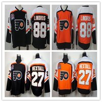 Dikişli 1997 Stanley Cup Philadelphia Flyers Vintage # 88 Eric Lindros Formalar Mens # 27 Ron HextAll Buz Hokeyi Formaları En Kaliteli