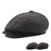 229d14b64377b Nuevos llegados. Raya de moda Sombreros octogonales Masculino Otoño e  Invierno sombreros adultos Sombrero de ala plegable Boina Adelante Joven ...