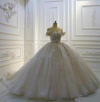2020 de lujo Hombro de bola vestidos de novia vestido de las lentejuelas hasta vestido de novia de la vendimia 3D Floral Apliques catedral nupcial del cordón del vestido