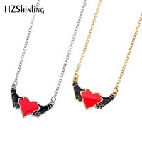 2019 Fashion Hands Raise Heart Lovely Enamel Necklace Love i...