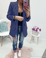 Women Striped Blazers V Turn Down Collar Without Button Coat...