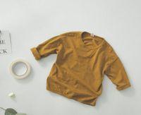 2019 весна осень Нового стиля мальчик конфеты цвета хлопок и льняные ткани моды с длинным рукавом футболка детской одежды