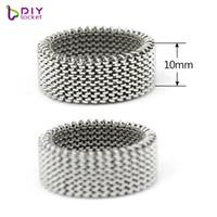 10pcs / lot all'ingrosso elasticità anello dell'acciaio inossidabile Mesh forma 10mm fascini dello scorrevole / lettere di diapositive LSBR056