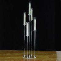 41 tum lång Candelabra Crystal Candelabra Bröllop Centerpieces Acrylic Clear Candle Holder Dekorativ 5 ARM Candle Holder