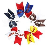 10 cor Rugby bowknot Dovetail Cabelo Arcos Softball Baby Girl Headband Baseball elogio Hairbands Cheerleading Cabelo Acessório rabo de cavalo titular