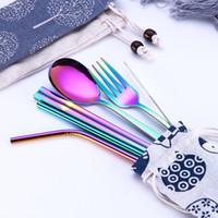 キッチンツールステンレススチールカトラリースーツカラーファッションキッズピペッツスプーン箸3ピース1セット5香油/セットフラットウェアキット18 5ZJ2