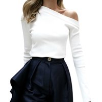 Women Slash Neck Flare Sleeve Slim Blouse Spring Sexy Off Tops Shoulder White Blouse Shirts Korean Fashion Blusa Feminina Z4
