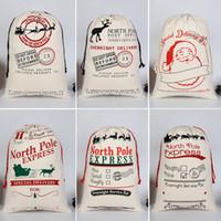 Toptan Sacks 20pcs / lot Noel Noel Çanta Büyük 50 * 70 cm Tuval Santa Çuval Tuval Pamuk Elk Claus İpli Ropebag