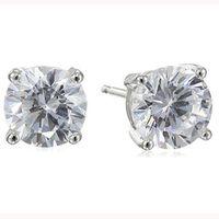 Luckyshine Fashion Cute Round Cut White Topaz Stud 925 Silver Men For Women Lovers Zircon Stud Earrings Jewelry