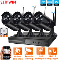 4CH Audio System CCTV 1080P Wireless NVR registratore 4PCS 2.0MP IR esterna P2P 1080p IP di Wifi di sicurezza del CCTV Sistema di Sorveglianza
