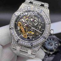 Дешевые полный алмазов Hip Hop Наручные часы Ice Алмазная часы Hollow моды Часы серебро из нержавеющей стали 42мм Автоматические часы