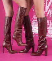 Кардашьян знаменитости стиль питон рельефные кожаные сапоги до колен женские высокие каблуки остроконечные Женские сапоги Zapatos de Mujer Botas размер 35-43