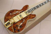 Chitarra elettrica di alta qualità F hollow body jazz più nuova con vibrato d'oro, top in acero fiammato + Spada, tastiera in palissandro guitarra